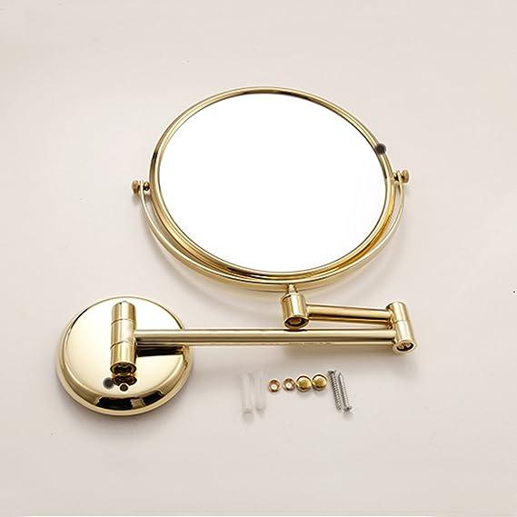 Specchio Trucco da Parete 8 Pollici Allungabile Specchio Bagno Trucco Specchio Ingranditore da Parete 360 /° Girevole Rotondo Doppio Finitura per Camera da Letto,3X