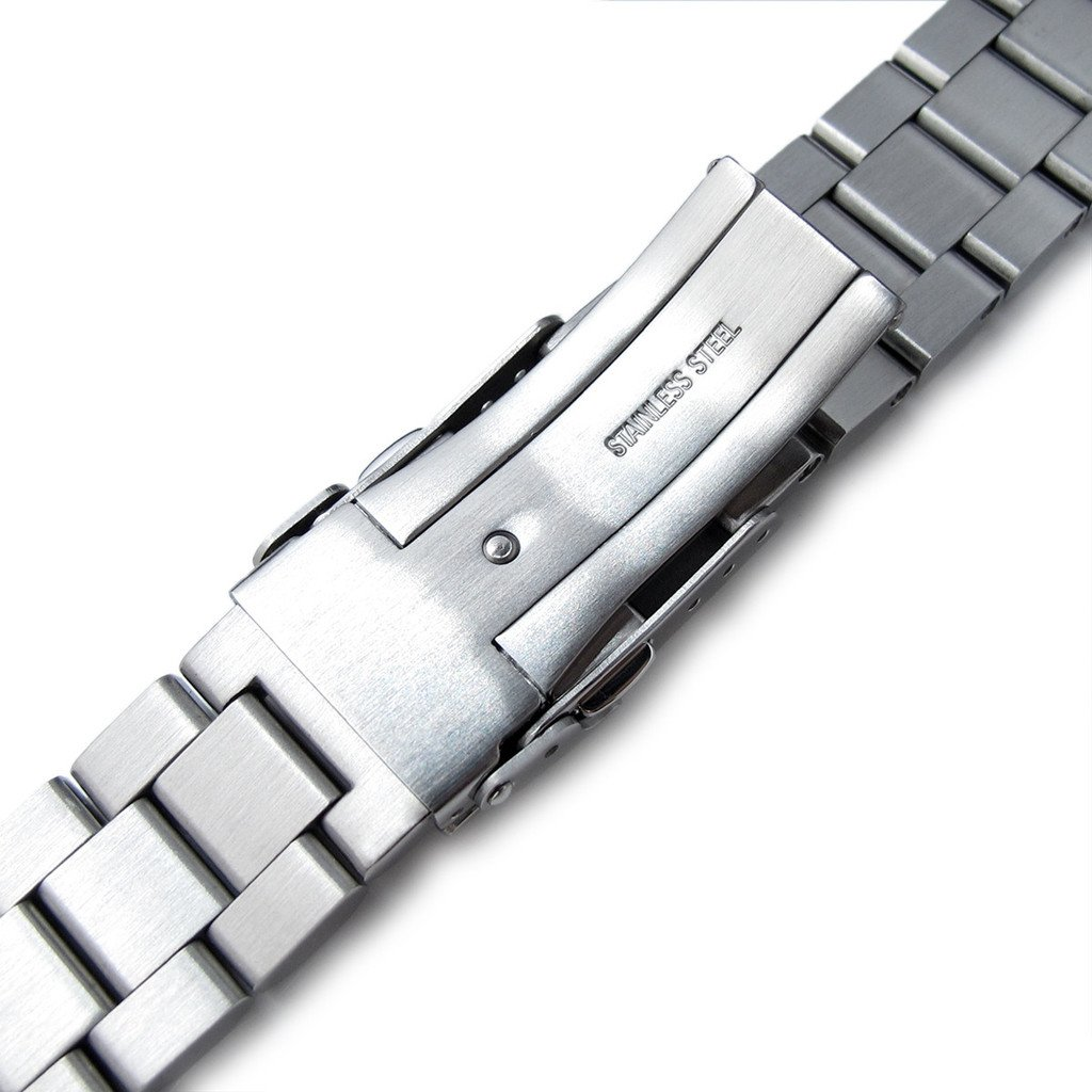 20mm Hexad Oyster 316L Stainless Steel Watch Band Straight End Lug, Diver Clasp Brushed