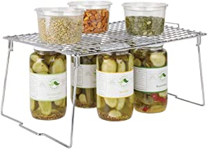 """mDesign Metal Stackable Storage Shelf - 2 Tier Raised Food and Kitchen Organizer for Cabinets, Pantry Shelves, Countertops, Closet - 12"""" x 17"""" x 8.4"""" - Chrome"""