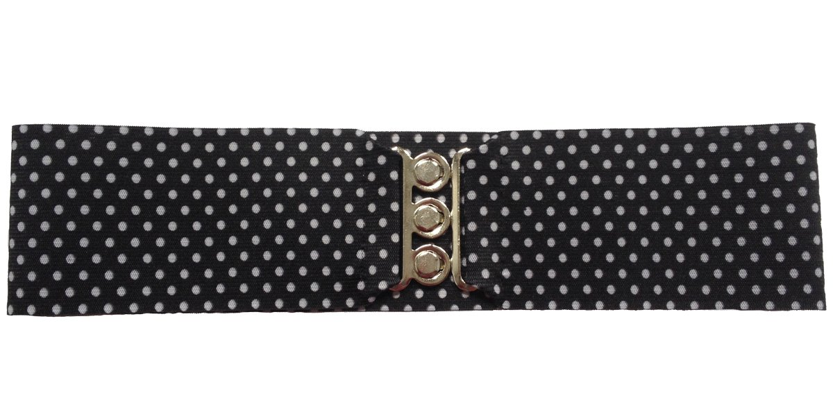 "Silver Clasp 50s Style Cinch 3"" Wide Elastic Belt for Women Junior and Plus Sizes Black with White Dots M/L"