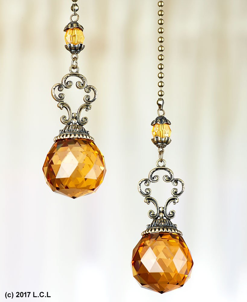 Set of 2 Vintage-Style Jeweled Ceiling Fan Chain Pulls AMBER Elegant