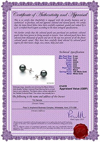 PearlsOnly - Noir 8-9mm AAA-qualité de Tahiti-Boucles d'oreilles en perles