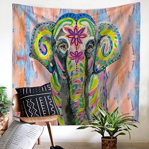 59 W * 51 H GT10 de poli/éster Tapiz de Bohemia de QEES Elephant 1 con estampa de elefante para colgar en la pared