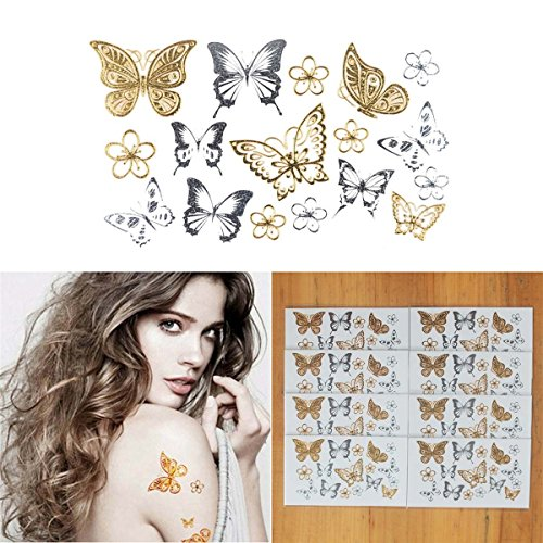 Butterflies Armband Tattoos - COKOHAPPY 8 Sheets Tiny Metallic Temporary Tattoo Gold Silver Flower Butterfly for Girls Women Shine Beach Armband