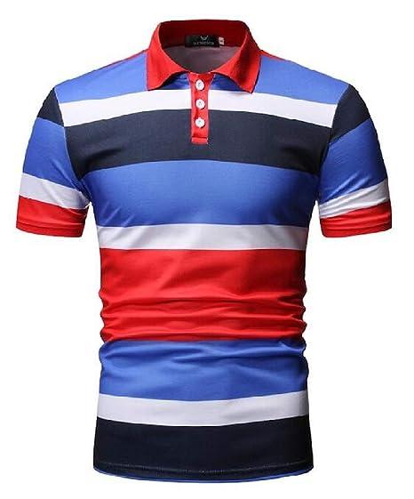 15484673233 CRYYU Men Buttons Regular Fit Lapel Stripe Print Casual Short Sleeve Golf Polo  Shirt Blue S