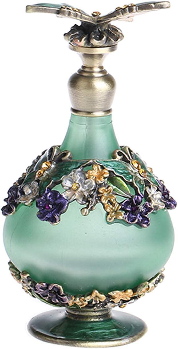 YUFENG - Botella de Perfume de Cristal para restauración con Mariposa Verde vacía Recargable