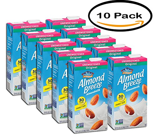 PACK OF 10 - Blue Diamond Original Unsweetened Almond Milk, 64 oz