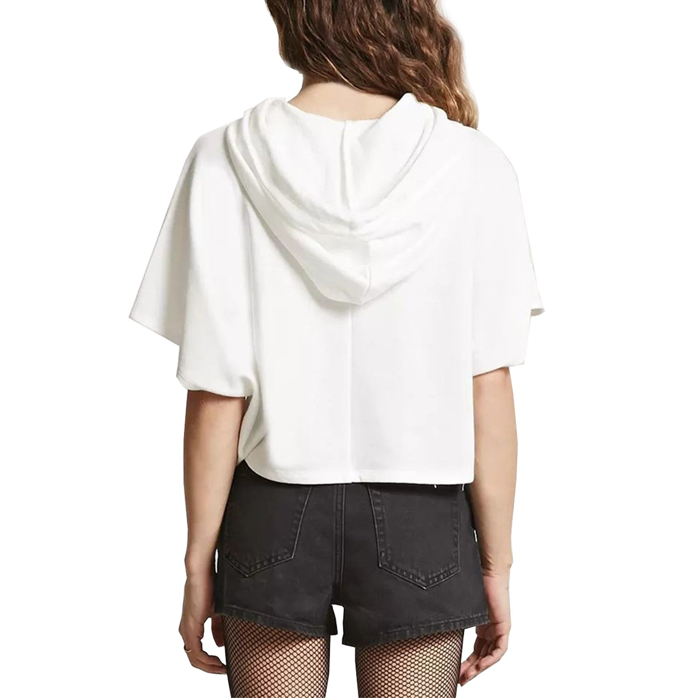 MAKARTHY Womens Short Sleeve Hoodie Lightweight Crop Top Pullover Sweatshirt White-L by MAKARTHY (Image #3)
