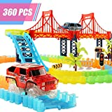 HQQNUO Tracks Car Toys, 360 Pieces Magic Race Track Cars Set with 2 Vehicles, 1 Hanging Bridge and Other Traffic Accessories, Track Car Toys for Kids
