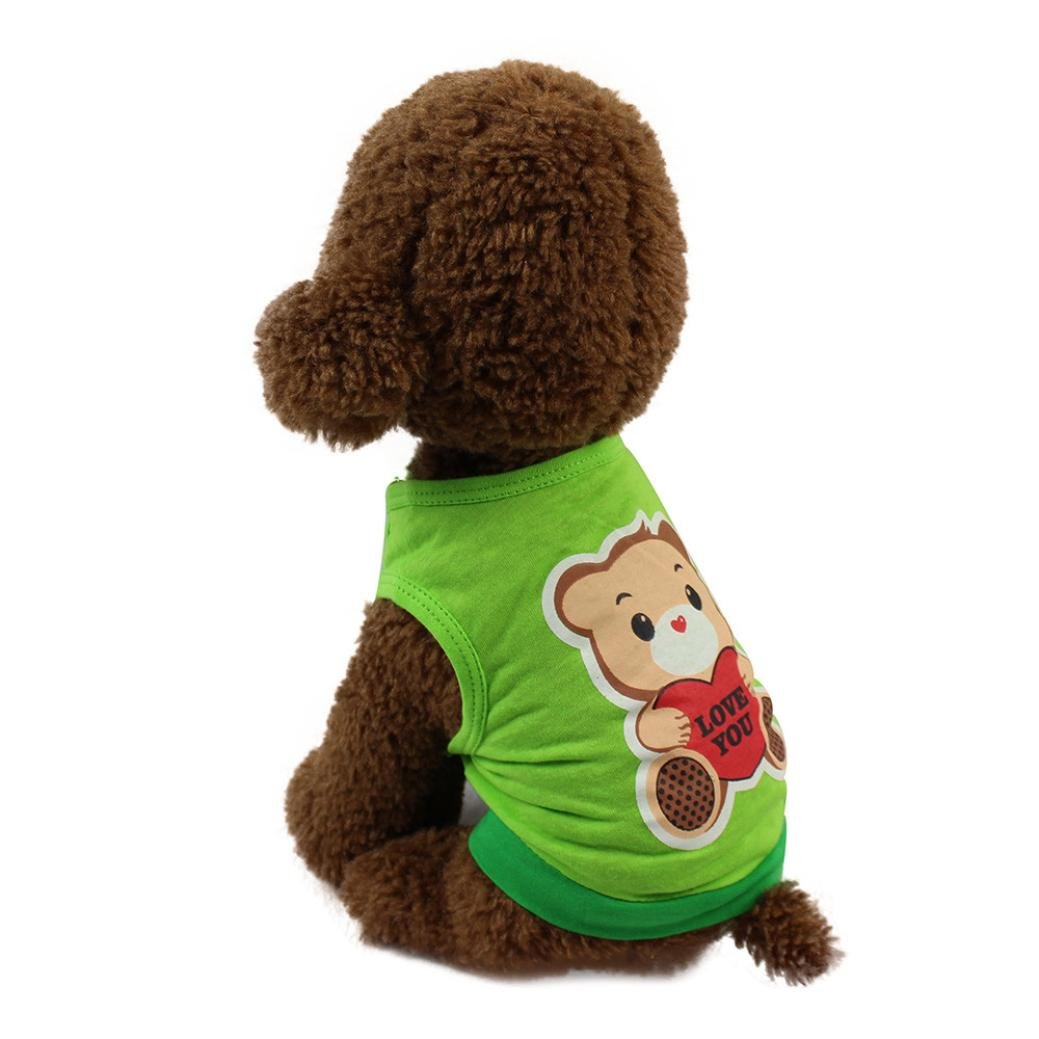 Puppy Vest, OOEOO Chubby Pet Costume Dog Cat T-Shirt Clothing Doggie Love You Costume (Green, XS)