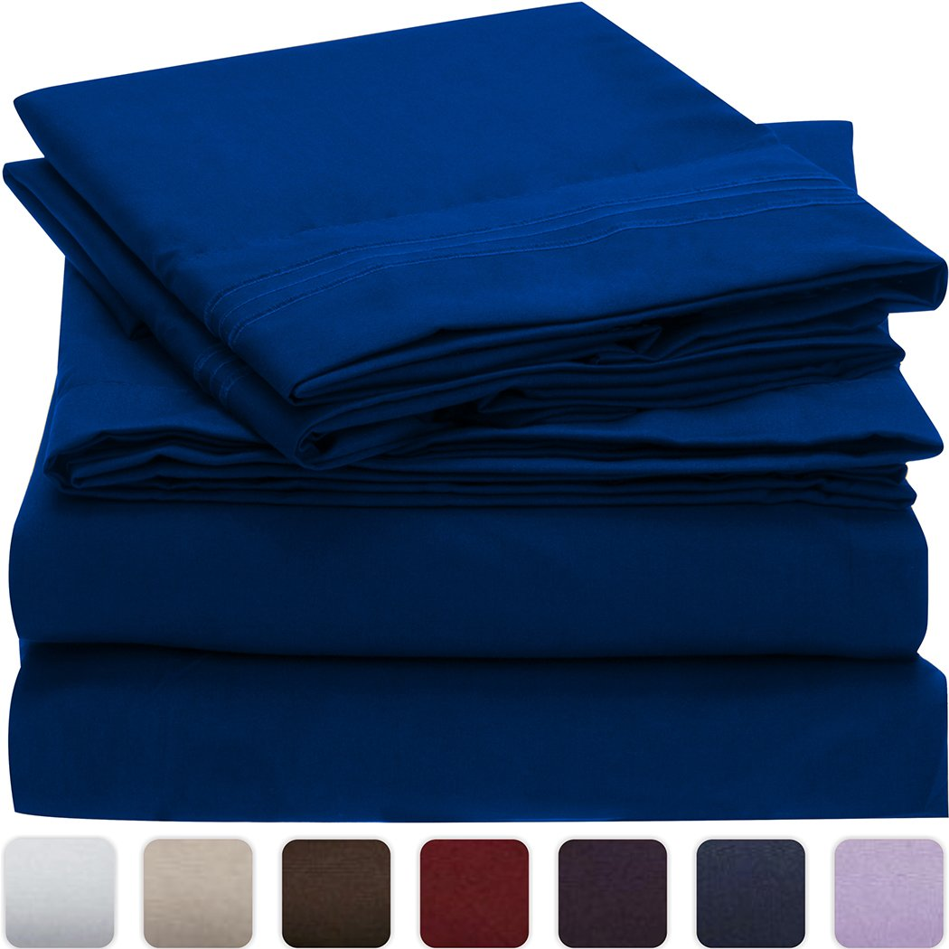 XL Mellanni 低刺激 深いマチ 高品質な起毛加工マイクロファイバープリント床敷き Twin しわ XL|インペリアルブルー インペリアルブルー 色褪せ 汚れ防止 B016P433QC XL 4点Twin Twin ベッドシーツセット 757440895658