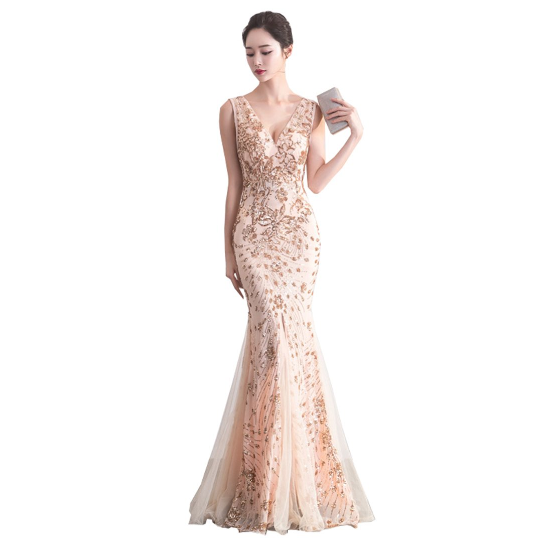 KUFEIUP Womens Vintage Sequins Mermaid Formal Evening Cocktail Long Dresses for Party