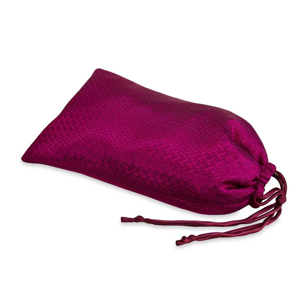 Shoe Pouch - Silk Jacquard (Geometric Raspberry)