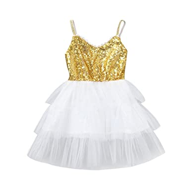 6676a2ec3c Amazon.com: KONFA Teen Baby Girls Sequins Line up Sundress Flounce ...