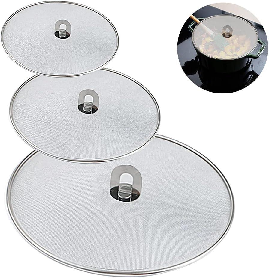 Mythese 3 Pcs Splatter Screen for Frying Pan, Grease Splatter Guard Stainless Steel Splatter Screen Mesh Pan Pot Lid Cover Oil Resist Splash Guard Frying Cooking Tools 9.8
