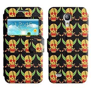 LEOCASE Cráneo Amarillo Funda Carcasa Cuero Tapa Case Para Samsung Galaxy S4 Mini I9190 No.1002371
