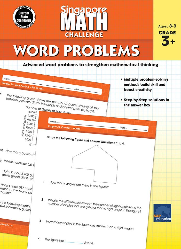 Singapore Math – Challenge Word Problems Workbook For 3rd, 4th, 5th Grade  Math, Paperback, Ages 8–9 With Answer Key: Singapore Math, Carson Dellosa  Education: 0044222275662: Amazon.com: Books