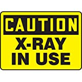 "Accuform MRAD642VP Plastic Safety Sign, Legend""CAUTION X-RAY IN USE"", 7"" Length x 10"" Width x 0.055"" Thickness, Black on Yellow"