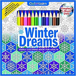 Amazon Winter Dreams Christmas Adult Coloring Book Set With 24 Colored Pencils Pencil Sharpener And Fireplace Music DVD Included Color Your Way