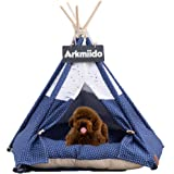 Arkmiido Pet Teepee Dog & Cat Bed with Cushion- Luxery Dog Tents & Pet Houses with Cushion & Blackboard (Airplane)