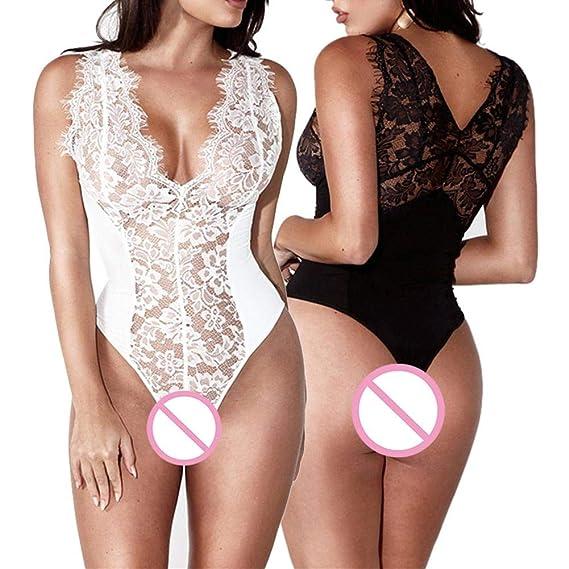 iStary Lencería De Dormir Vestido Erotica Ropa Interior Encaje Bodysuit  Pestañas para Mujeres Perspectiva De Una Pieza V Profunda Atractivo  Babydoll ... 21a5d8e30597