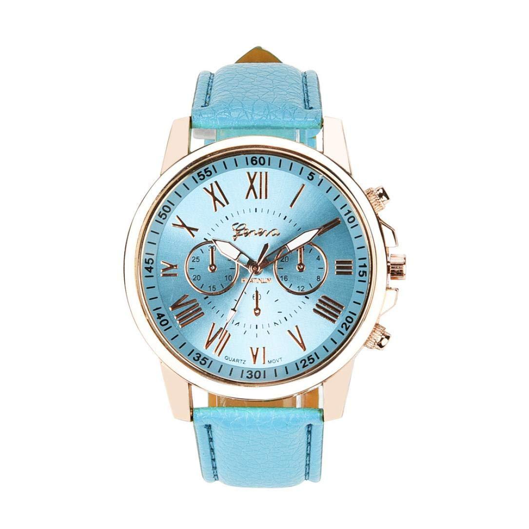 ManxiVoo Women's Geneva Roman Numerals Faux Leather Watches Business Analog Quartz Wrist Watch (Multicolor A)