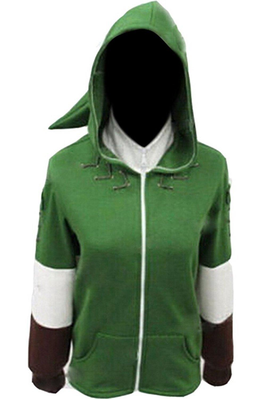 Ya-cos The Legend of Zelda Link Hooded Hyrule Warriors Zipper Coat Jacket Green (Green, Medium)