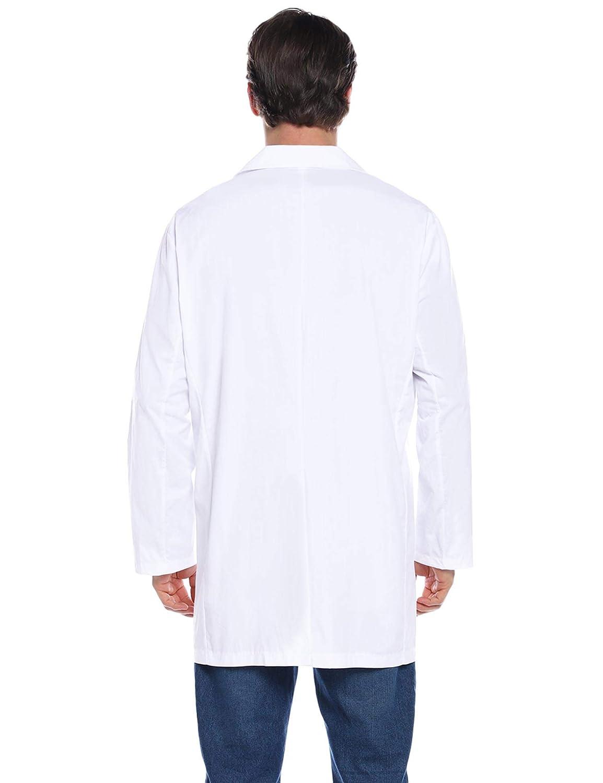 Camice Medico Cotone per Studenti Laboratorio Lavoro Ospedale Cosplay Aibrou Camice Bianco da Laboratorio per Uomo e Donna Camici da Laboratorio Unisex Manica Lunga con Tre Tasche