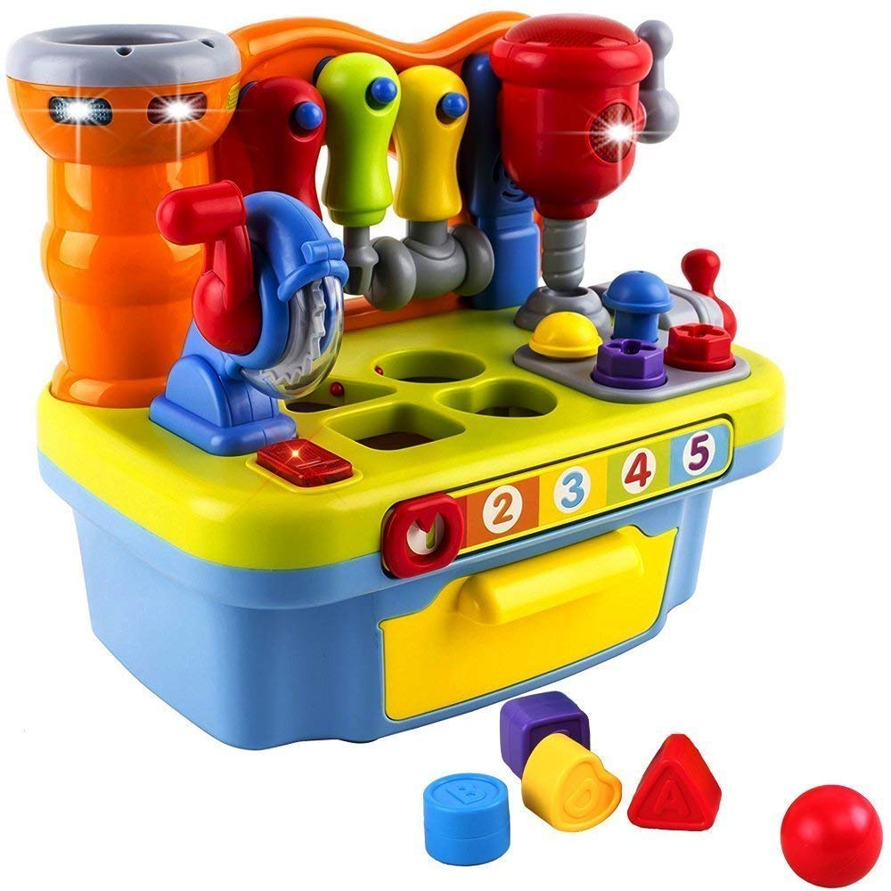 Wolson Musical Learning Tool Workbench Work Bench Toy Activity Center for Kids with Shape Sorter Huile