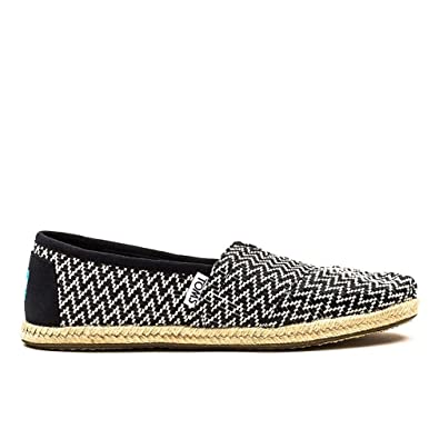 TOMS Women's Classics Flat Black Woven Rope Sole Size 5 B(M) US