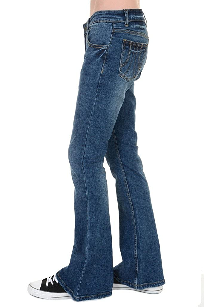 70s Costumes: Disco Costumes, Hippie Outfits Run & Fly Mens 70s Retro Distress Vintage Stretch Denim Bell Bottom Flares £34.99 AT vintagedancer.com