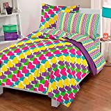 5 Piece Whimsical Diagonal Rainbow Hearts Patterned Sheet Set Twin Size, Featuring Printed Abstract Colorful Heart Shapes Bedding, Playful Graphic Design, Artful Modern Style Kids Bedroom, Multicolor