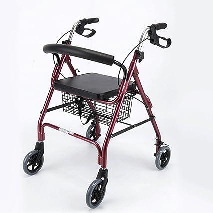 Chang Xiang Ya Shop Caminante Plegable Andador de Cuatro Ruedas Andador Ajustable con Asiento Adecuado para