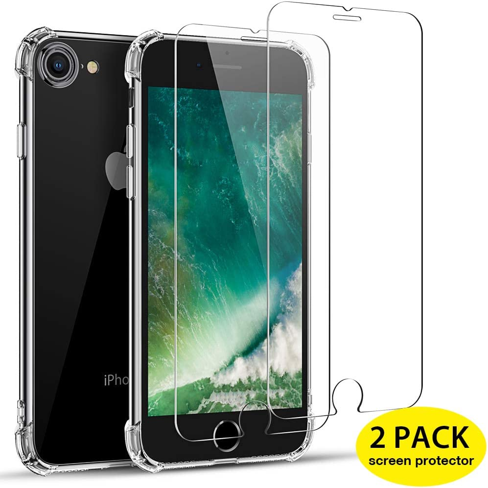 iPhone 8 H/ülle iPhone 7 H/ülle Anti-Kratzer iPhone SE 2020 H/ülle mit Luftkissen - Klar Joyguard iPhone SE H/ülle 2020 Transparent 4.7 Soft Case 2 St/ück Panzerglas Displayschutzfolie