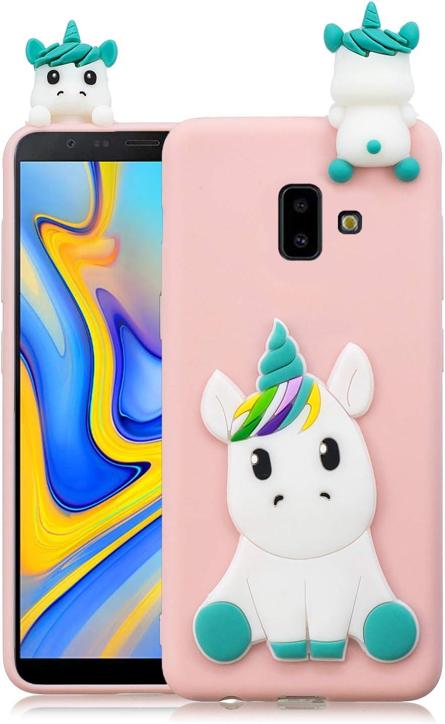 Coque Samsung Galaxy J6 Plus 2018 Silicone avec Motif 3D Licorne Rose Clair Housse pour Samsung J6 Plus 2018 Ultra Fine TPU Souple Étui Cute Mignon ...