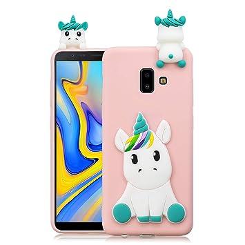 Leton Funda para Samsung J6 Plus 2018 Unicornio Rosa Silicona 3D Suave Flexible TPU Carcasa Samsung J6 Plus 2018 Delgado Gel Tapa Ultrafina Goma ...