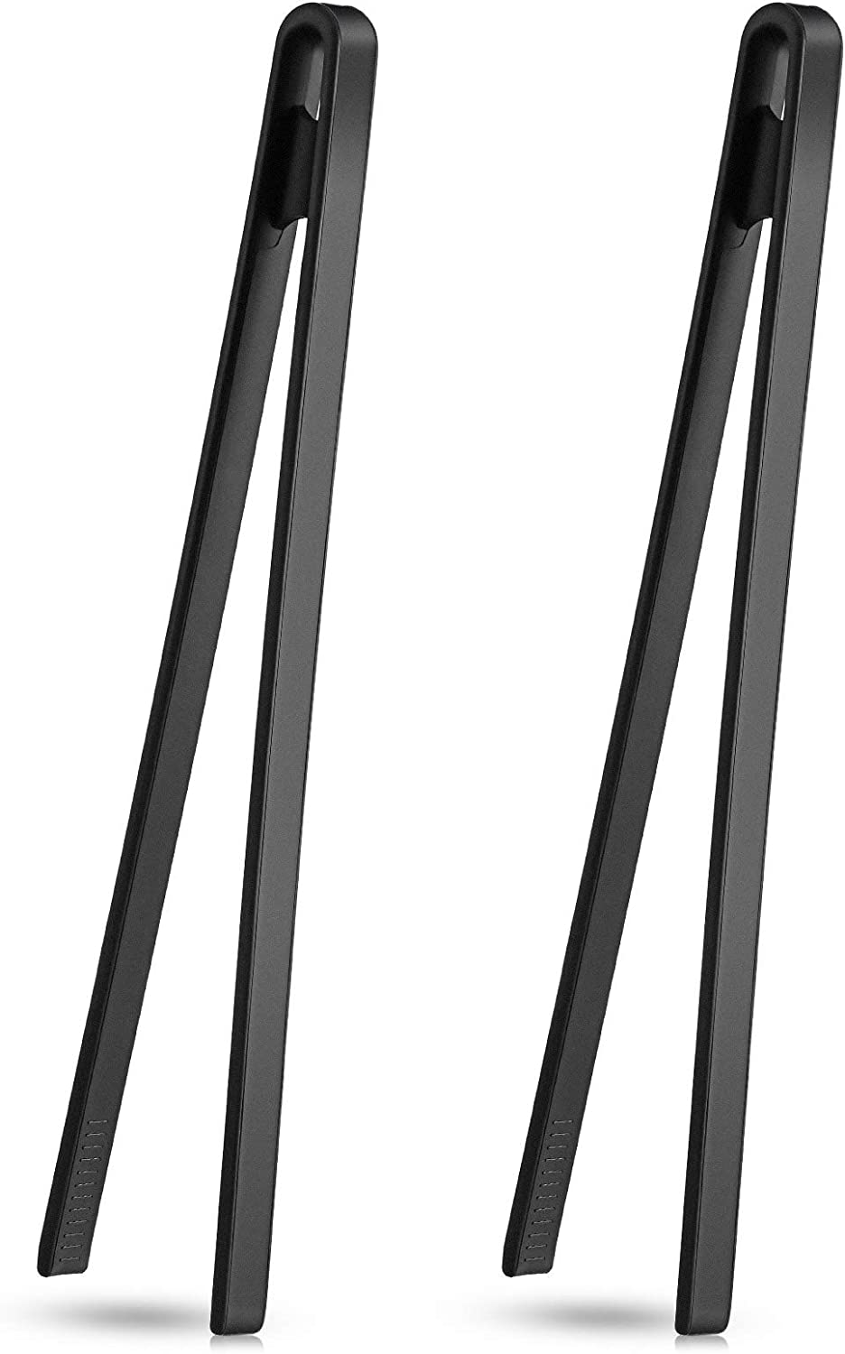 2 Pieces 11.8 inch Silicone Trivet Tongs Non-Stick Silicone Food Tongs Kitchen Cooking Tongs Heat Resistant BBQ Grilling Tongs for Tortillas, and Toaster (Black)