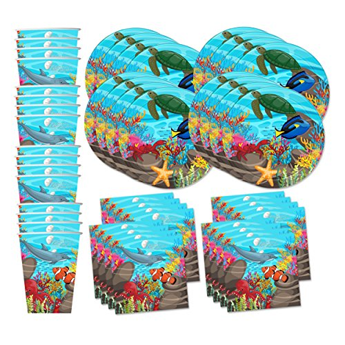 Ocean Sea Life Birthday Party Supplies Set Plates Napkins Cups Tableware Kit for (Ocean Party Supplies)