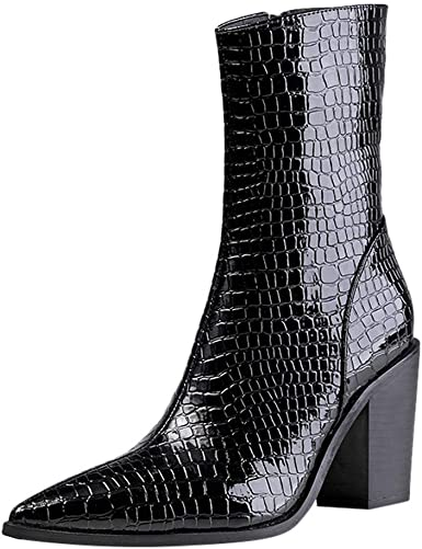 Womens Solid Round Toe Slip On Block High Heels Casual Mid Calf Hollow Out Boots