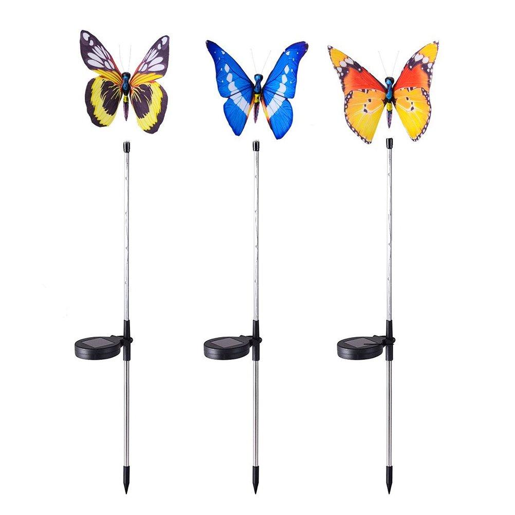 LEDMOMO Garden Solar Lights Outdoor Decorative Stake Butterfly Lights 3PCS