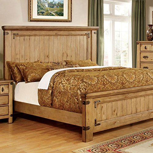 Amazon Com Pioneer Country Style Weathered Elm Finish Queen Size Bed Frame Set Kitchen Dining