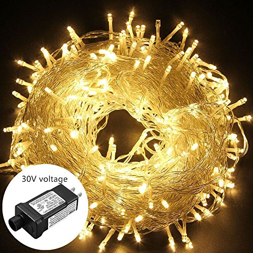 oulin's Led String Lights Outdoor Christmas Lights 30V 8 Modes 200LED 82ft Fairy String Lights for Homes, Christmas Tree, Wedding Party, Bedroom, Indoor Wall Decoration (Warm White) -