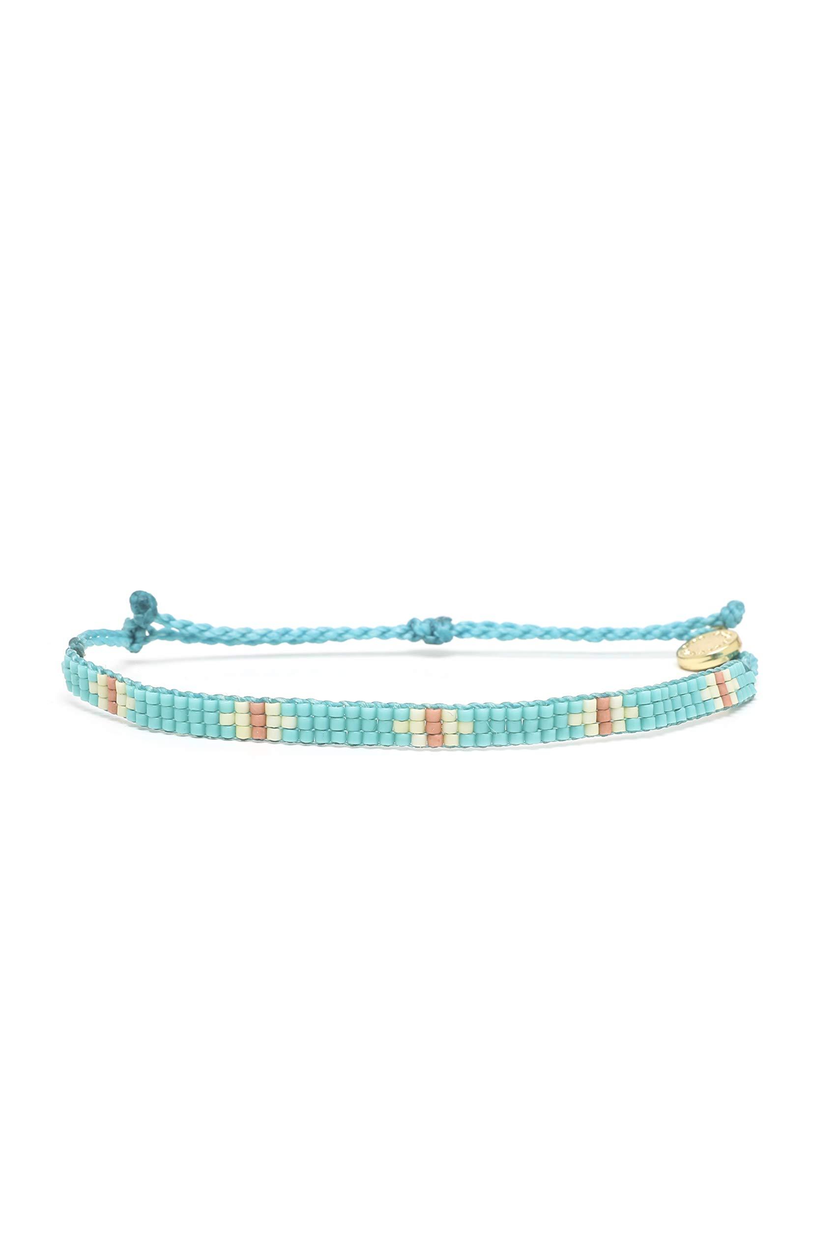 Pura Vida Flat Bead Bracelet w/Plated Charm - Adjustable Band, 100% Waterproof - Turquoise