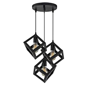 DesiDiya® 3 Lights Round Cluster Chandelier Cube Light with Braided Cord Pendant Lights For Ceiling Hanging Lights For Home Decoration Living Room / Hall / Balcony / Restaurant Bar Lighting (Black, Bulb not included)
