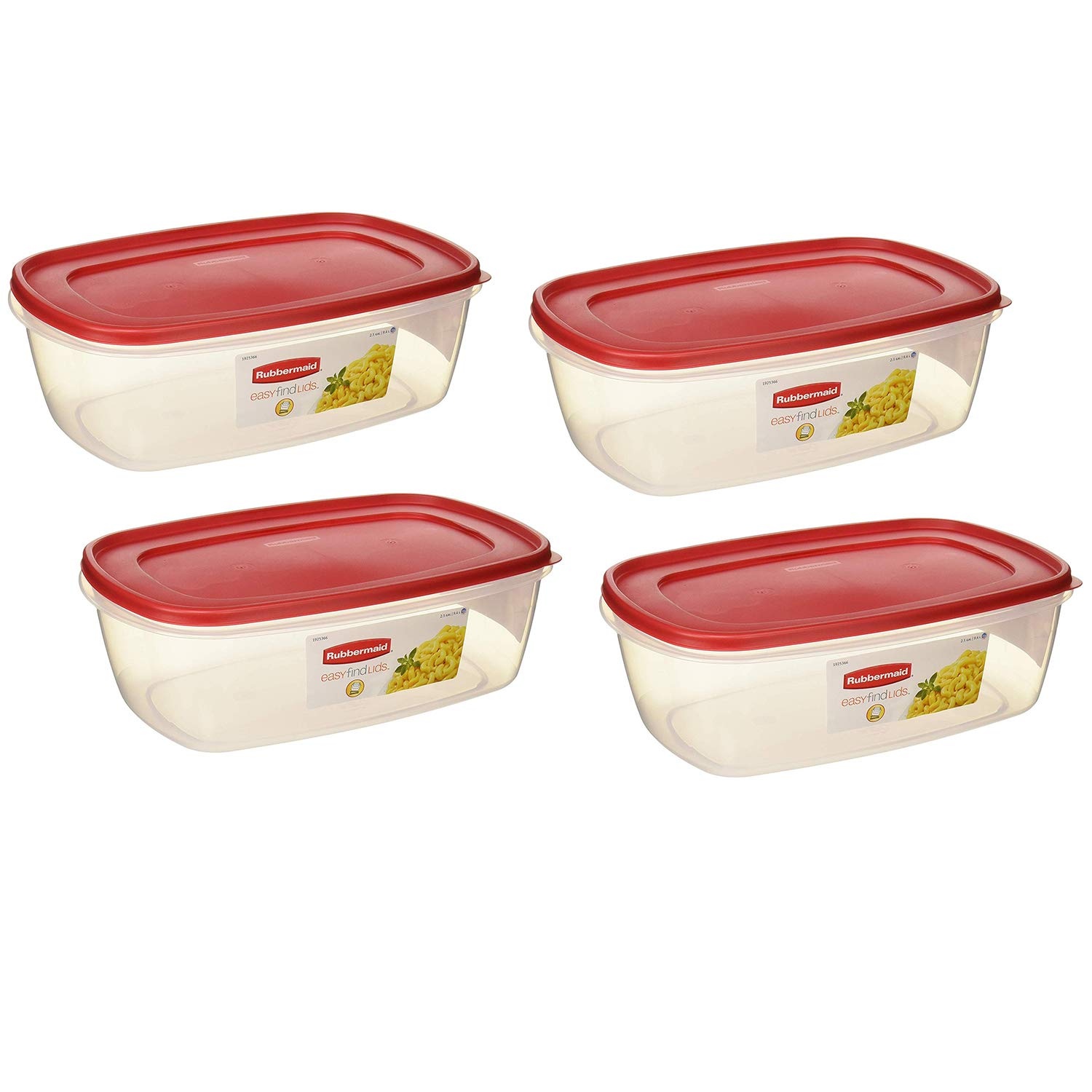 Rubbermaid 6640210 711717439723 Plastic Easy Find Lid Food Storage Container, BPA-Free, 40 Cup / 2.5 Gallon, Pack of 4, Clear with Red