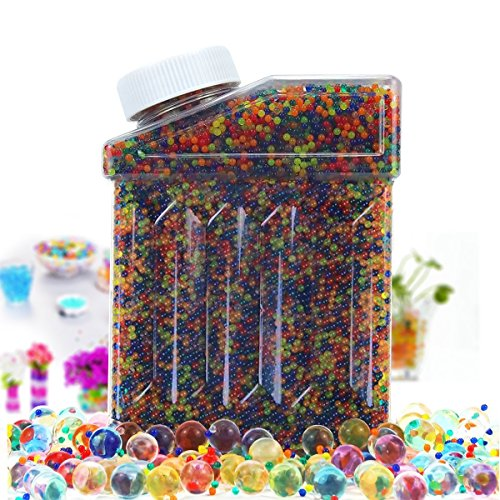 Rainbow Mix Water Bead Toys Large Water Beads Pack 50000 Beads Non Toxic Water Beads Vase Filler Bottle Pack Bead Sensory Balls for Kids Water Beads Gun Party Favors ()