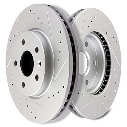 SCITOO Brakes Rotors 2pcs Front Drilled Slotted Discs Brake Rotors Brakes Kit fit 2011-2015