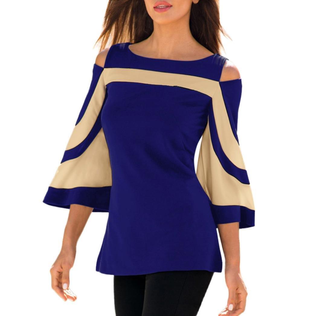 Toamen Women's Fashion Shirt Top, Women Girls Tie-Bow Neck Striped Long Sleeve Splicing Shirt Blouse, Size S-XXL