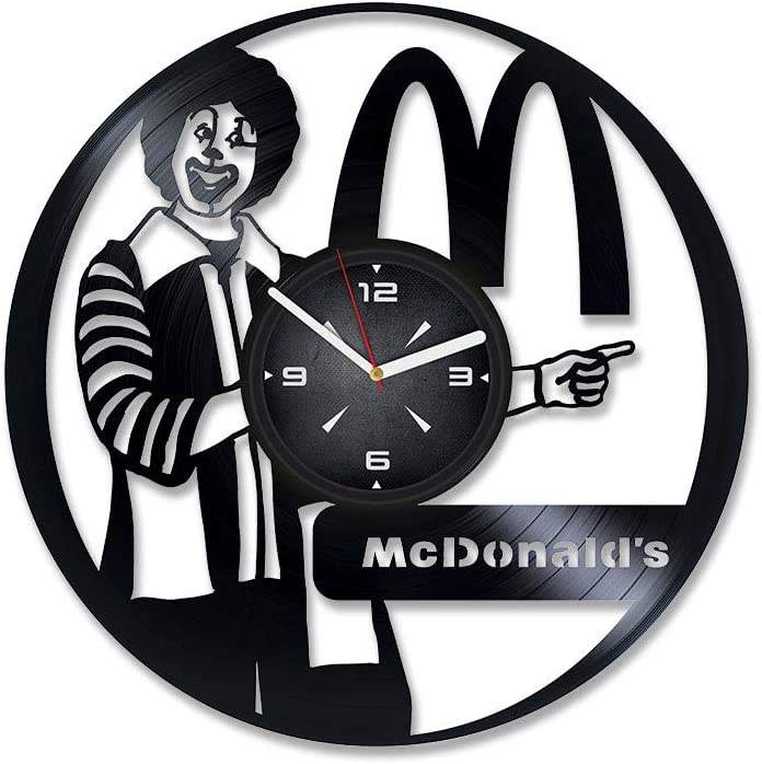 McDonalds Vinyl Record Wall Clock. Decor for Bedroom, Living Room, Kids Room. Gift for Him or Her. Christmas, Birthday, Holiday, Housewarming Present.