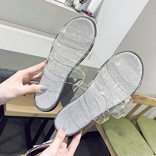 bocca a raffreddare basso Estate lady di pantofole trasparente piatto tacco Forty Donyyyy pesce fondo 2018 EzqYwxza